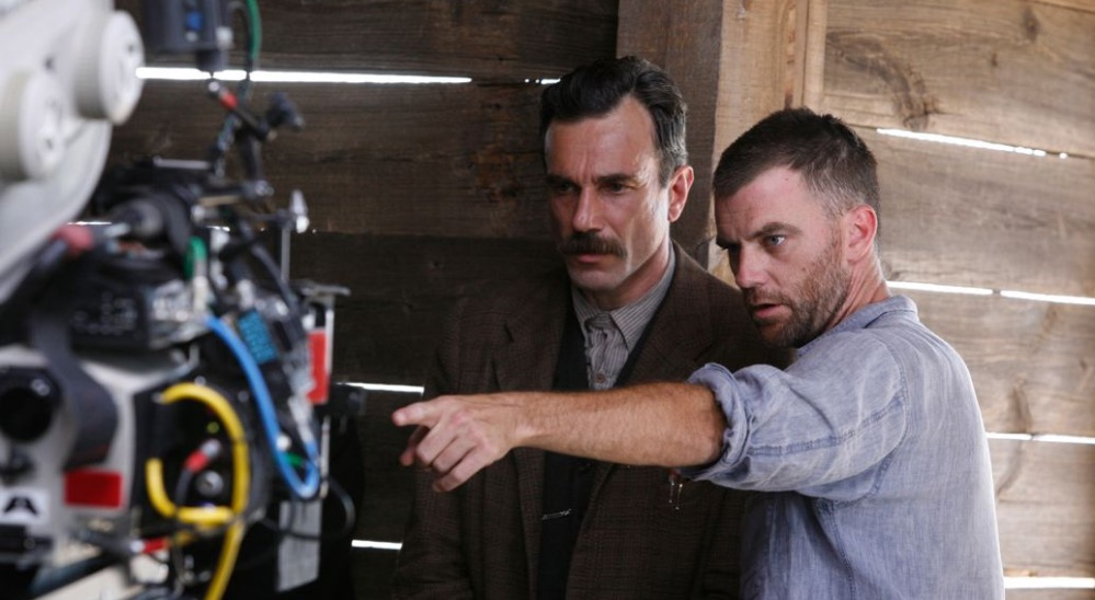 Paul Thomas Anderson e Daniel Day-Lewis no set de Sangue Negro